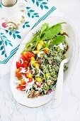 Couscous salad with chlorella and fresh vegetables