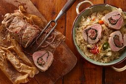 Stuffed pork fillet on a white cabbage medley