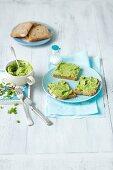 Pea and avocado cream on bread