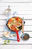 Frittata with cherry tomatoes and mozzarella
