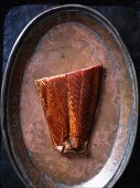 Smoked salmon on a copper plate