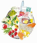 Ideal nutrition separated on a plate (illustration)