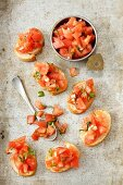 Bruschetta (grilled bread topped with tomato and basil, Italy)