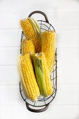 Corncobs in a wire basket
