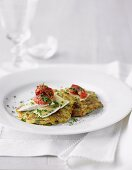 Zucchini Pancakes with double brie