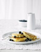 Fluffy Pancakes with Blueberries & Maple Syrup