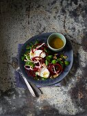 Lamb's lettuce with goat's cheese, apple and beetroot spirals
