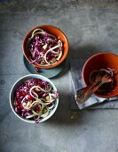 Red cabbage and kohlrabi salad with pomegranate seeds