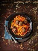 Pumpkin spaghetti with meatballs