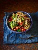 Tomato and broccoli spaghetti with chickpeas