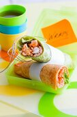 Green and red tandoori chicken wraps