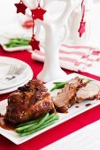 Roast pork with a whiskey and caramel gravy for Christmas dinner