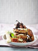 Hot cross bun French toast with maple syrup, vanilla cream and mascarpone