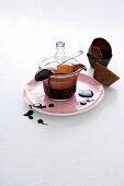 Chocolate sauce in a glass jug
