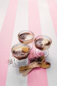 'Ying Yang' chocolate mousse in dessert glasses