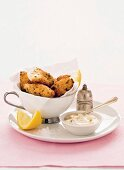Hake fritters with olive mayonnaise