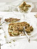 Fudge with white chocolate, matcha tea and pistachios