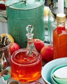 Jars of apple jelly
