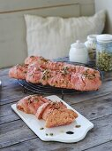 Beetroot baguettes with pumpkin seeds