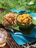 Posh picnic - Lotus crisps with roast pumpkin, cashew and parmesan dip