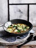 Zucchini quinoa broth with feta