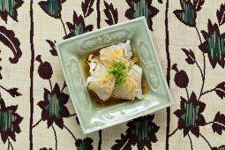 Kaiseki menu: ika, gently grilled blowfish