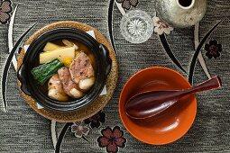 Kaiseki menu: duck with vegetables in broth