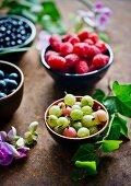 Fresh gooseberries, blueberries and raspberries in bowls