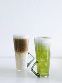 An iced cafe latte and an iced matcha latte