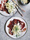 Coppa with fennel, apple and pumpkin seed cream