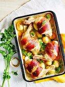 Chicken and prosciutto tray bake