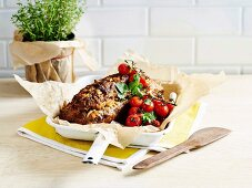 Meatloaf with roast oregano tomatoes