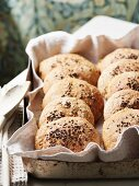 Homemade bread rolls made from bean purée and carrots with flaxseeds