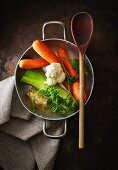 Mirepoix in a pot (seen from above)