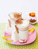 Hot vanilla milk with cinnamon