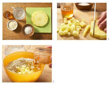 Millet and coconut muesli with fresh pineapple being made