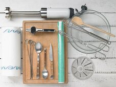 Various kitchen utensils for cooking and grilling