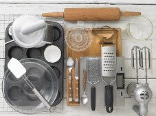 Kitchen utensils for making Easter muffins