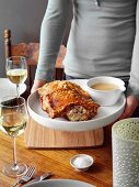 Stuffed Roast Pork with Gravy