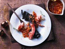 Mediterranean lobster with black tagliatelle