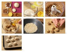 Energy bites made from dried fruits and sesame seeds being made
