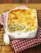 Creamy chicken lasagne with a breadcrumb crust