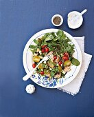Lentil and salmon salad with a yoghurt and mint sauce