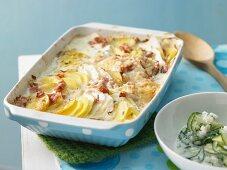 Potato and kohlrabi bake with cooked ham