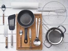 Kitchen utensils for preparing a soused herring & bean salad