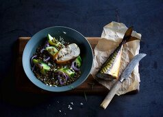 Smoked mackerel on oven-baked lentils