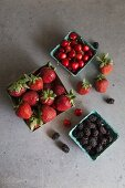 Blackberries, cherries and strawberries
