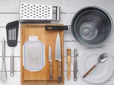 Küchenutensilien für Pfannkuchenzubereitung