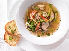 Porcini mushroom soup with tomatoes