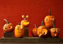 Halloween pumpkins with scary faces